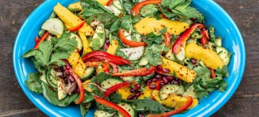 Mediterranean-Style Mango Salad Recipe with Spinach
